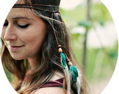 Leather & Feather Headband /Multi-Use Armband, Necklace, Belt - w/ Turquoise, Brown, and White