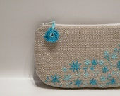 Embroidered purse Natural turquoise flowers Beige clutch