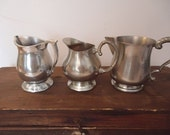 Vintage Pewter Creamers Collection of 3