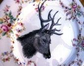 Stags Head Vintage China Dinner Plate Wall Decor