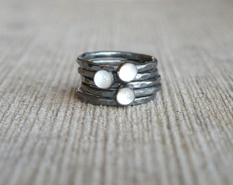 Moonstone Stacking Rings, Moonstone Ring, Moonstone, Stacking Rings, Sterling Silver, Oxidized