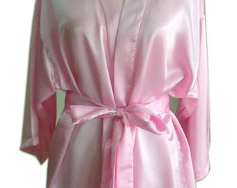 Light Pink Satin Bridesmaids robes Kimono Crossover Robes Spa Wrap Perfect bridesmaids gift, getting ready robes, Bridal shower party favors