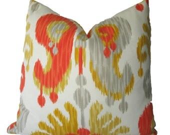 Decorative Indoor Outdoor Ikat Abstract Paisley Pillow Cover, Orange, Yellow, Grey,  18x18, 20x20, 22x22 or Lumbar, Throw Pillow