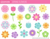 INSTANT DOWNLOAD - Spring Flowers - Clip Art Set - Personal and Commercial Clipart