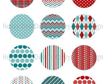 "Instant Download - 2"" Printable Circles 028 - Red and Teal Digital Circles"