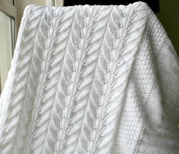 Knitting Pattern For Christening Blanket : White Christening blanket Heirloom baby blanket Hand knit