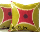 20 X 20 Chartreuse Watermelon Ikat pillow cover Double Sided