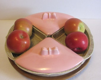 Far West California Pink Beige Lazy Susan Vegetable Tray