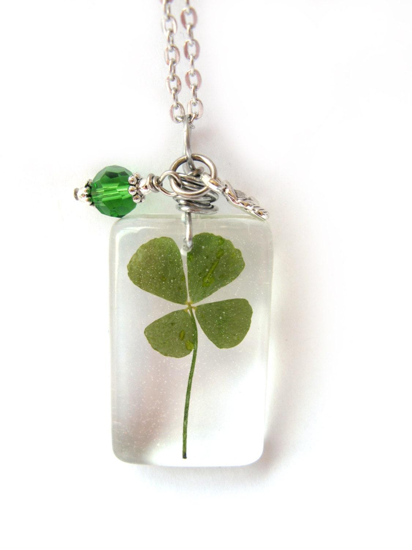 real four leaf clover necklace real 4 leaf clover encased