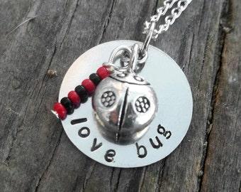 Love Bug Ladybug Stamped Metal Necklace