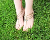 Boho Sandals,Customizable,Barefoot Sandals,Barefoot Sandal Foot Bracelets,Three Strand Foot Jewelry Barefoot Sandals,Antique Bronze Sandals