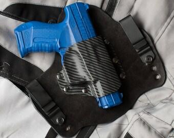 Black Leather Carbon Fiber Kydex Hybrid Gun Holster Walther P99 QA IWB Concealed CCW