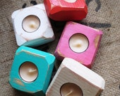 Square Faceted Candle Holders Set of Four