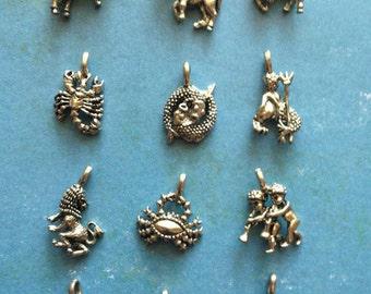 12 Zodiac Charms - Silver Tone Pewter