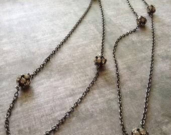 Long Gunmetal Bling Necklace