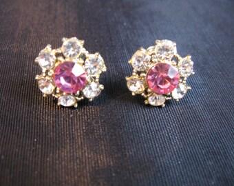 Pink Rhinestones Earrings Screw Back Flower Earrings White Rhinestone