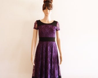 Purple Lace Bridesmaid Dress.Dress With Sleeves. Purple Evening Dress. Lace Party Dress.