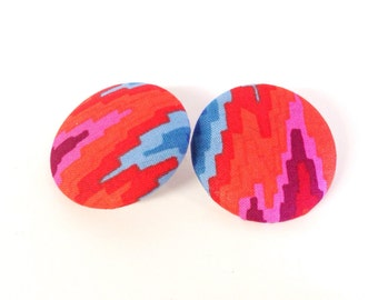 Oversized Aztec Mountains Print Button Earrings