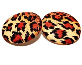 Extra Oversized Cheetah Print Button Earrings