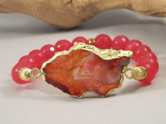 Agate Bracelet in Brigth Padparadscha 24k Gold Edged Agate Slice Bracelet Pink Agate Bracelet