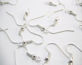 Silver Earring Hooks Package Of 50 (25 Pairs) 18mm long, 18mm wide, 0.8mm thick, and hole 2mm