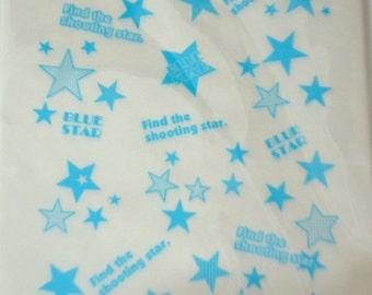 A Set of 25 Japanese Kraft Gift Bags - Blue Stars