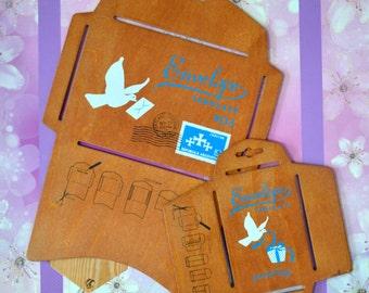 2 Antique Style Wooden Envelope Templates