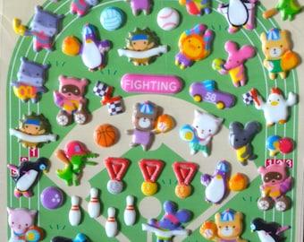 Japanese / Korean Puffy Sticker- Animals Sport Day