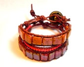 Reserved for Jetta- Beaded Leather Wrap Bracelets