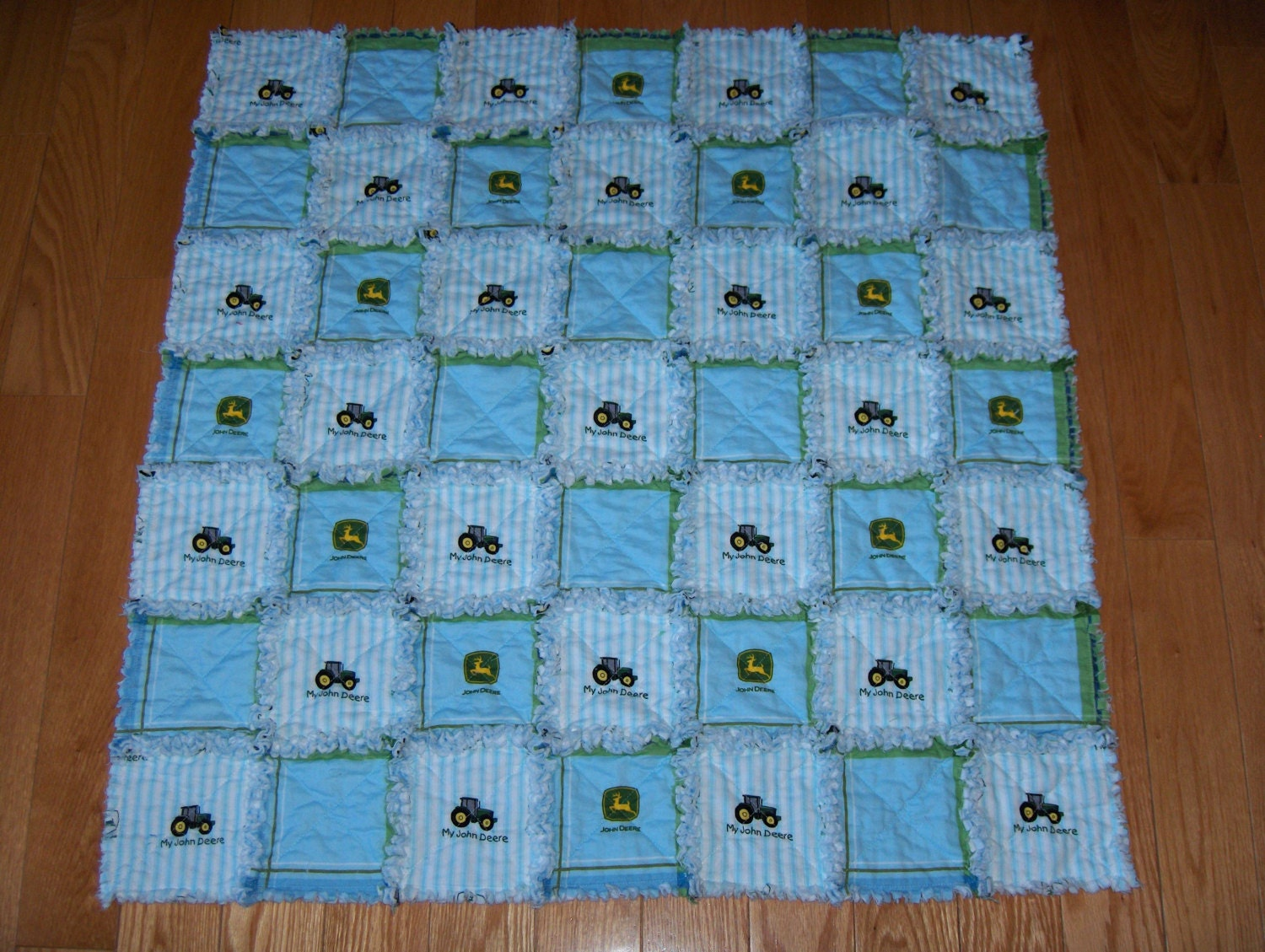 Blue baby boy blanket john deere fabric rag quilt tractor for Boy quilt fabric