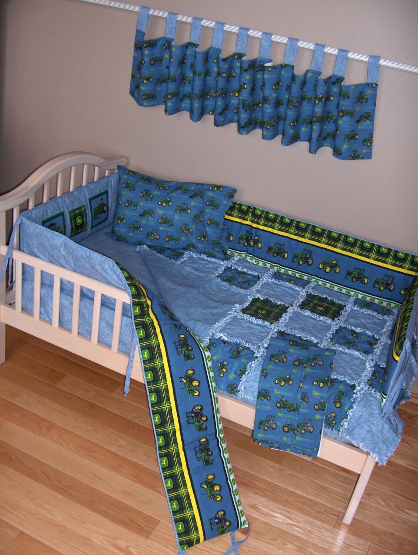 Baby Boy John Deere Crib Bedding Set Tractors On Denim Rag