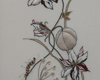 Hand Embroidery design. hand embroidered. Caterpillar, Fruit, Beetle Pattern & Instructions for needlework