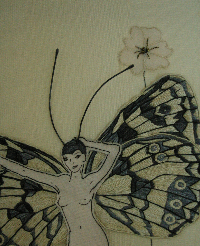 Pattern modern hand embroidery wall art stumpwork instructions