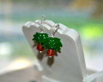 Dainty Palm Tree Lamp work Glass Bead Earrings
