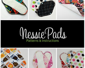 SALE: NessiePads Cloth Pad / Mama Cloth PDF Sewing Patterns - Wool, PUL, Fleece Backing - Serged Pad Patterns