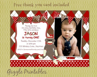Sock Monkey Birthday Invitations - free thank you card included