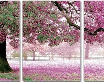 Purple Flowering Tree Cross Stitch Triptych kit