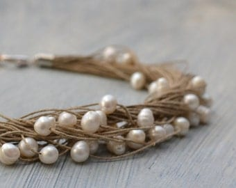 Pearl Linen Necklace White Pearl Necklace - Wedding Jewelry, Organic Rustic Bride, Nature Inspired