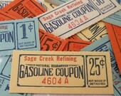 12 Vintage Gasoline Coupons - 1 Dozen Antique Gas Tickets from Sage Creek Refining - Blue, Orange, White, Yellow - Small Paper Ephemera