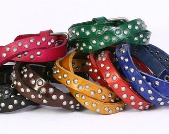 Studded leather wrap bracelet with adjustable buckle. Little spike stud leather wrap bracelet. B023