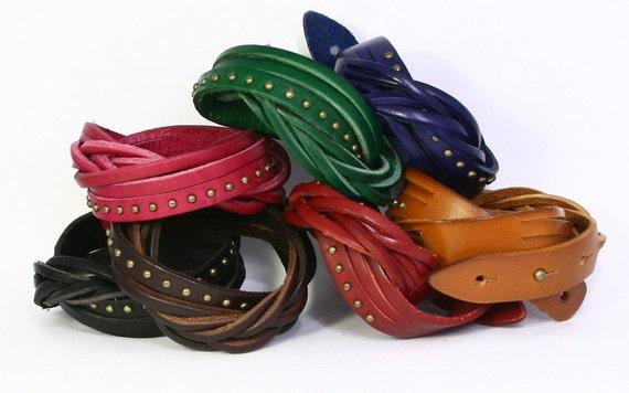 Genuine Leather Wrap Bracelet Braided Cuff, Studded Leather Bracelet, Braid Color Leather Bracelet Brown Black Red Green Blue Pink B016-RND