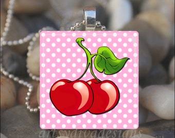 SWEET CHERRY LOVE Cherries Polka Dots Glass Tile Pendant Necklace Keyring