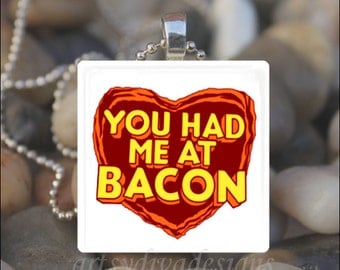BACON LOVER Bacon Meat Lover Heart Glass Tile Pendant Necklace Keyring