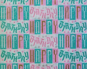 Vintage BenMont HAPPY BIRTHDAY Gift Wrap Wrapping Paper - Bouncy Mid-Century Script - 1950s