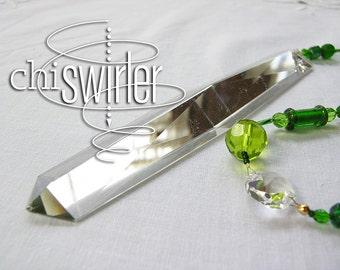 Kelly Green beaded Suncatcher, pressed glass, repurposed vintage chandelier crystal, rainbow maker, good energy  'Chi-Swirler'