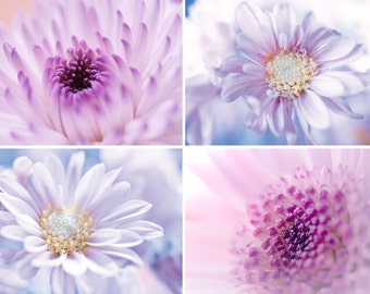 Printable Photoset Pastel Flowers Set of 4 photos Digital Download Pale Purple and Lavender wall art