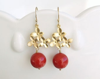 SPECIAL - Red and Gold Earrings - Red Pearl - Gold Flower Earrings - Red Swarovski Christmas Pearl Earrings Bridesmaid Jewelry Wedding