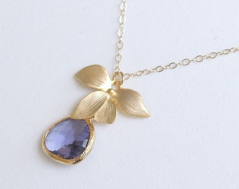 Purple Bridesmaid Necklace - Tanzanite and Gold Orchid - Gold Flower on Gold Filled Chain - Wedding Jewelry, Bridesmaids Jewelry, Bridal