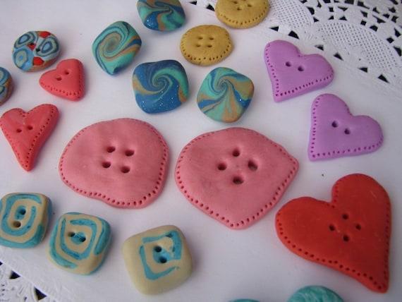 handmade buttons - lavander, mint , pink, blue, orange... - set of 20