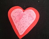 Valentine Brooch on Sale - Polymer Clay Carved Heart Pin in Pink and Red